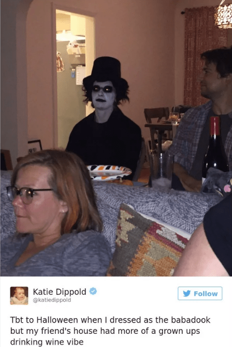 Room - Katie Dippold @katiedippold Follow Tbt to Halloween when I dressed as the babadook but my friend's house had more of a grown ups drinking wine vibe