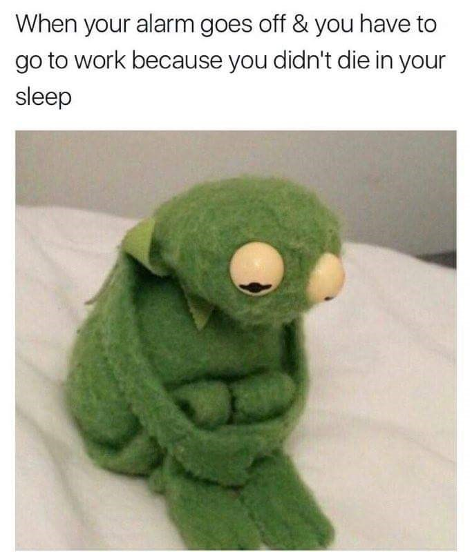 dank monday meme about wanting to die in your sleep with picture of sad Kermit hugging his knees