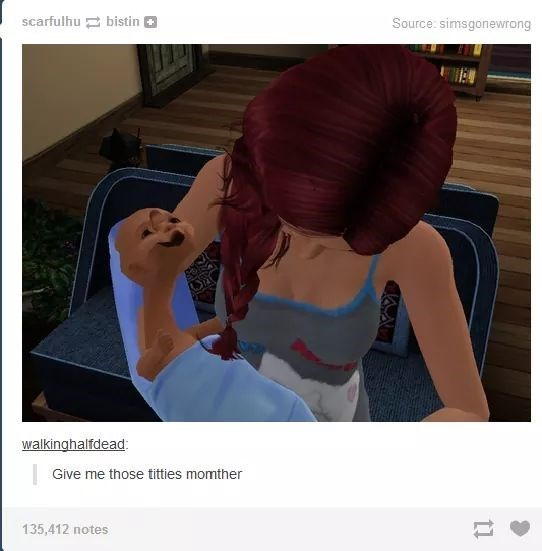 Hair - scarfulhu bistin Source: simsgonewrong walkinghalfdead: Give me those titties momther 135,412 notes