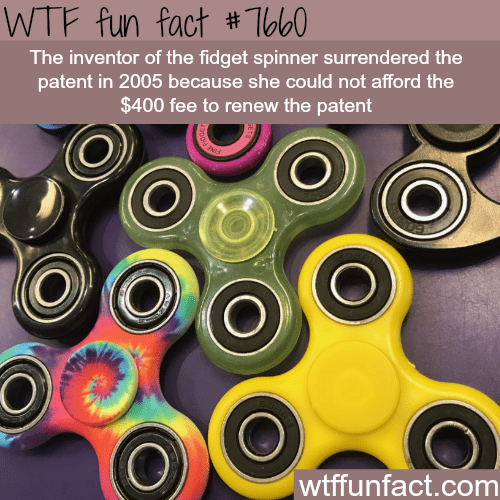 Bicycle part - WTF fun fact # To60 The inventor of the fidget spinner surrendered the patent in 2005 because she could not afford the $400 fee to renew the patent O wtffunfact.com