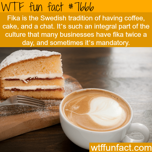 Food - WTF fun fact # Toblo Fika is the Swedish tradition of having coffee, cake, and a chat. It's such an integral part of the culture that many businesses have fika twice a day, and sometimes it's mandatory. wtffunfact.com