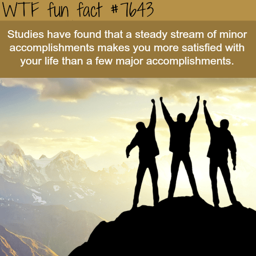 People in nature - WTF fun fact #1T643 Studies have found that a steady stream of minor accomplishments makes you more satisfied with your life than a few major accomplishments.
