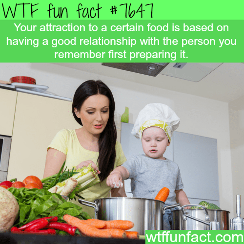 Cook - WTF fun fact # T041 Your attraction to a certain food is based on having a good relationship with the person you remember first preparing it. wtffunfact.com