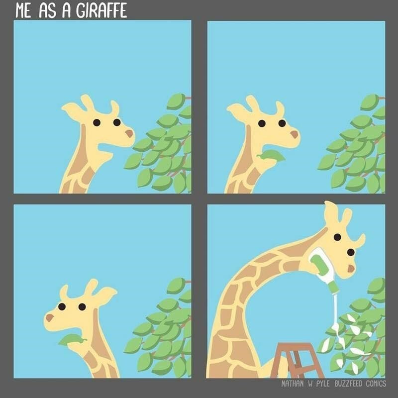 webcomic of me as a giraffe putting dressing on the leaves