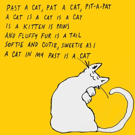 Text - PAST A CAT, PAT A CAT, PIT-A-PAT A CAT 15 A CAT IS A CAT IS A KITTEN IS PAWS AND FLUFFY FUR 1S A TAIL SOF TIE AND CUTIE, SWEETIE AS I A CAT IN MY PAST IS A CAT