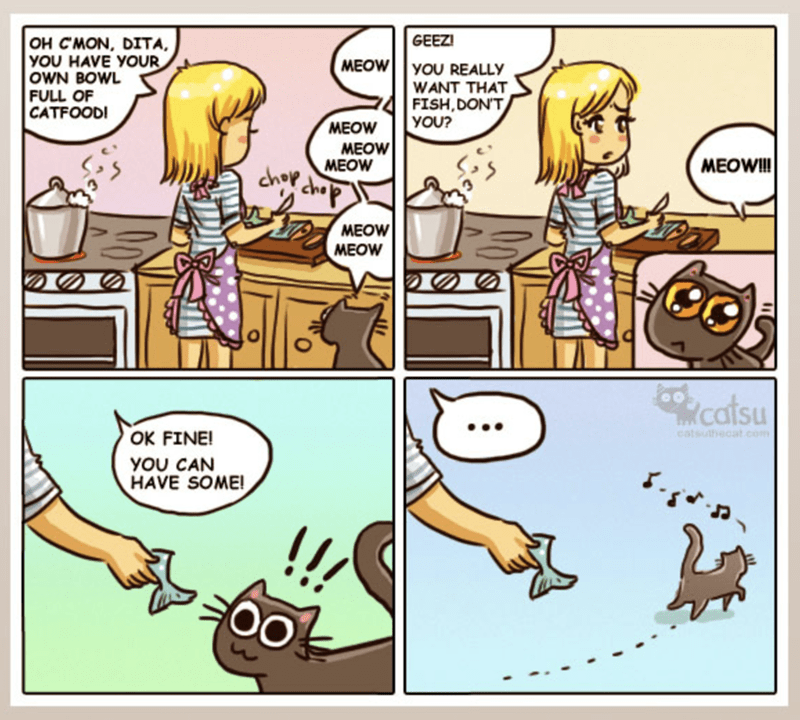 Cartoon - OH CMON, DITA YOU HAVE YOUR OWN BOWL FULL OF CATFOOD! GEEZ MEOW YOU REALLY WANT THAT FISH,DON'T YOU? MEOW MEOW MEOW MEOWI!! chop che MEOW MEOW catsu OK FINE! eatsuthecat.co YOU CAN HAVE SOME!
