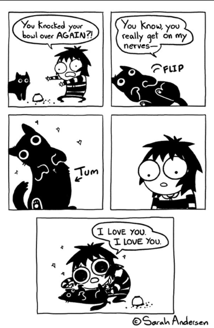Comics - Yου Κnou γου You Knocked your bowl over AGAIN?! really get on my nerves- FFLIP O O Tum I LoVE YOU I LOVE YOU OSarah Andersen