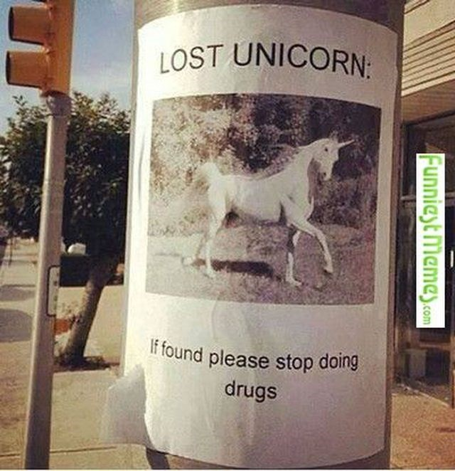 sign that says lost unicorn, if found please stop doing drugs
