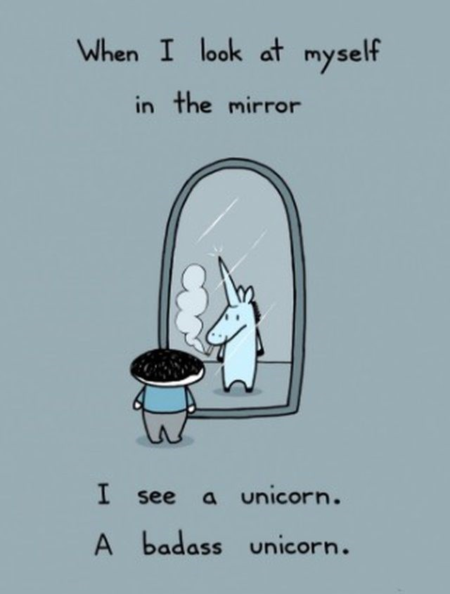 funny webcomic of a unicorn in the mirror