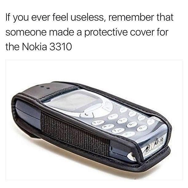 Funny meme about Nokia protective case being useless.
