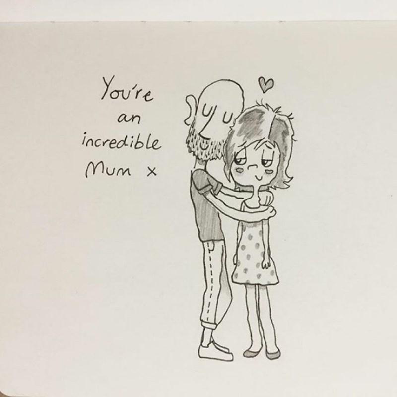 family doodle - Drawing - You're U an incredible Mum x Do