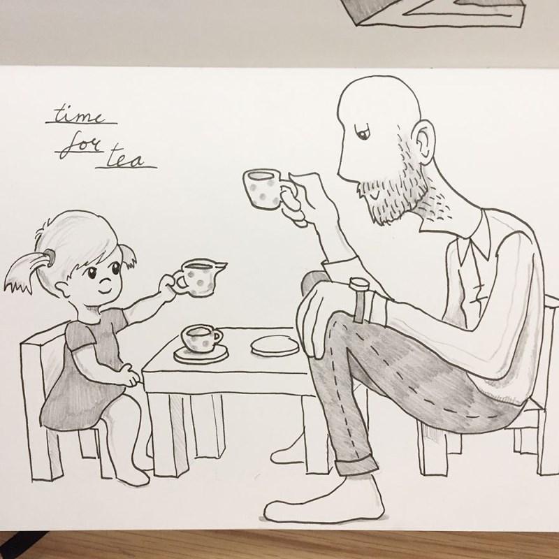 family doodle - Cartoon - time fer tea