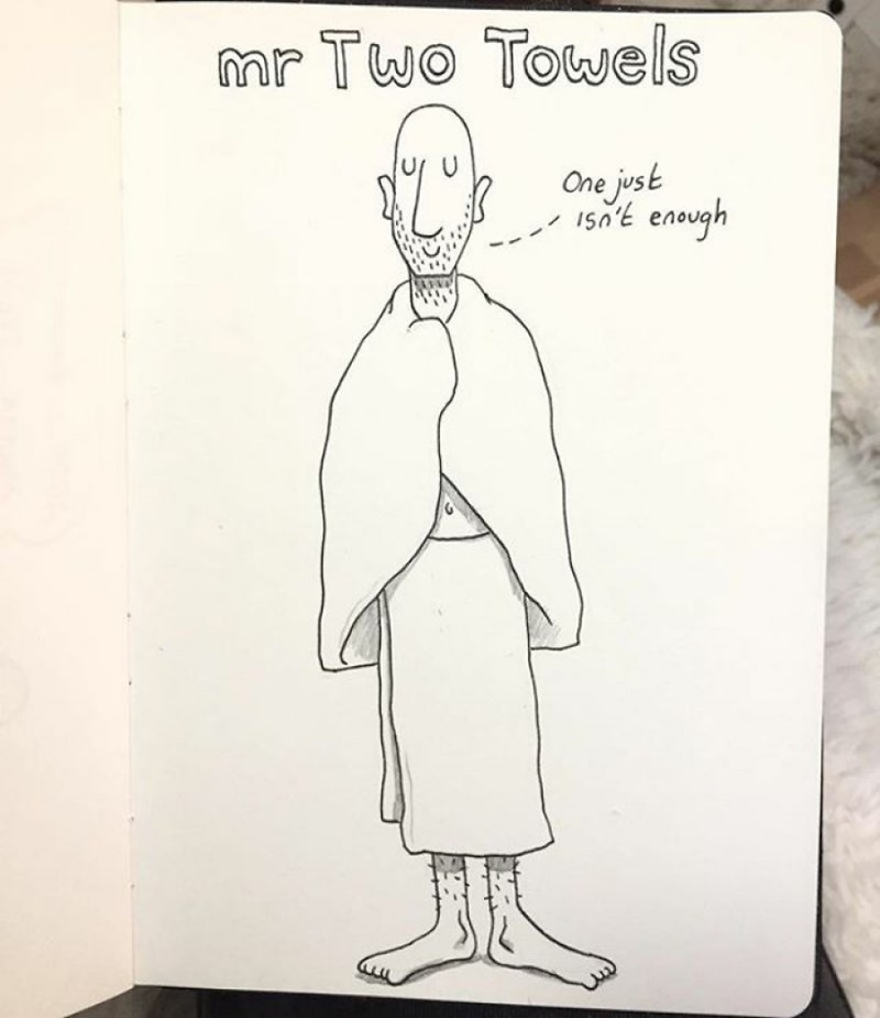 family doodle - Cartoon - mr Two Towels One just 150E enough