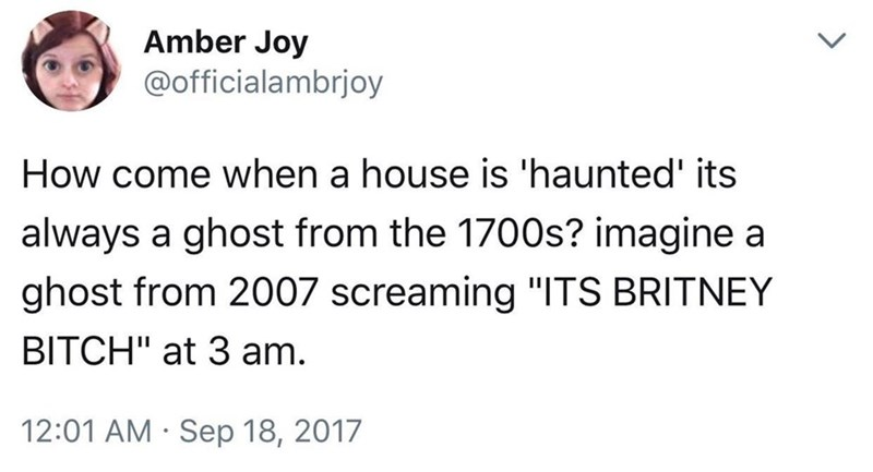 Funny tweet about ghosts.