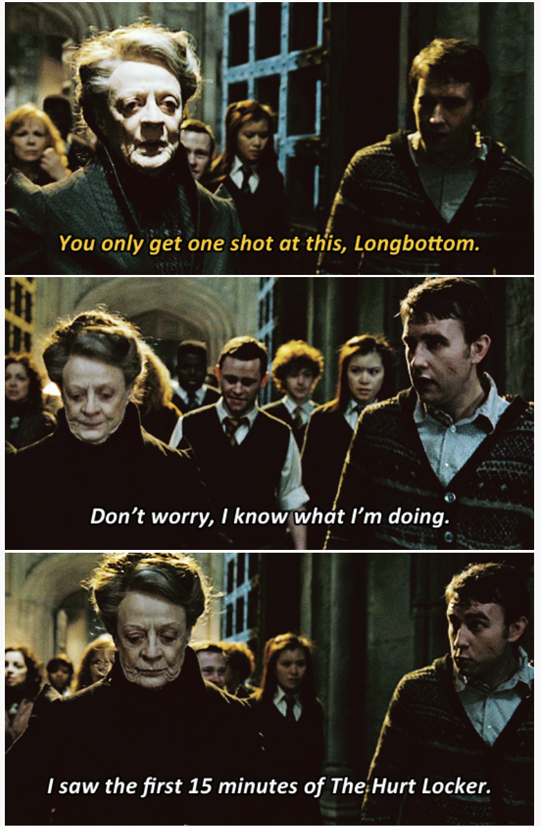 3-panel crossover meme of Harry Potter and Brooklyn Nine Nine about knowing what to do after watching The Hurt Locker