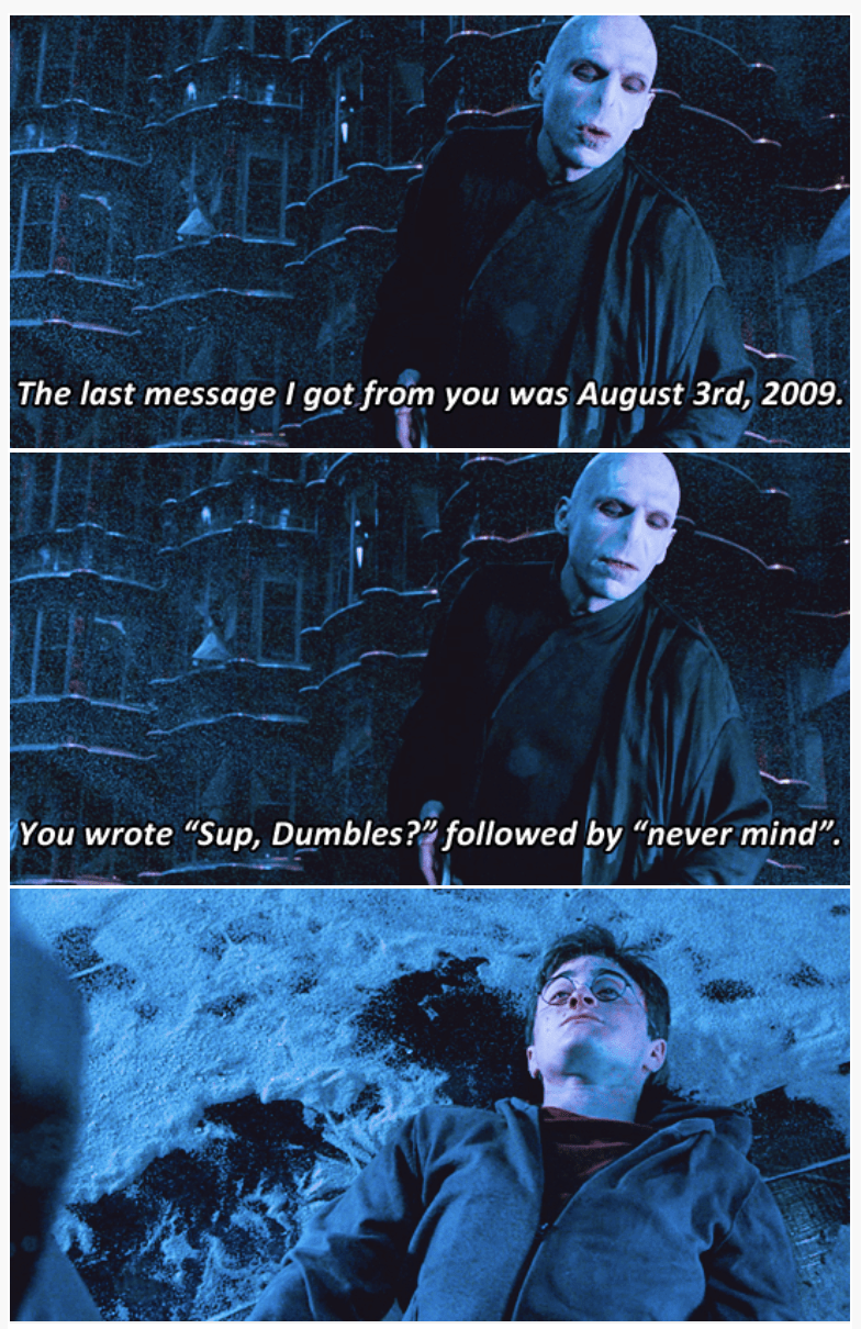 3-panel crossover meme of Harry Potter and Brooklyn Nine Nine about writing a message in 2009