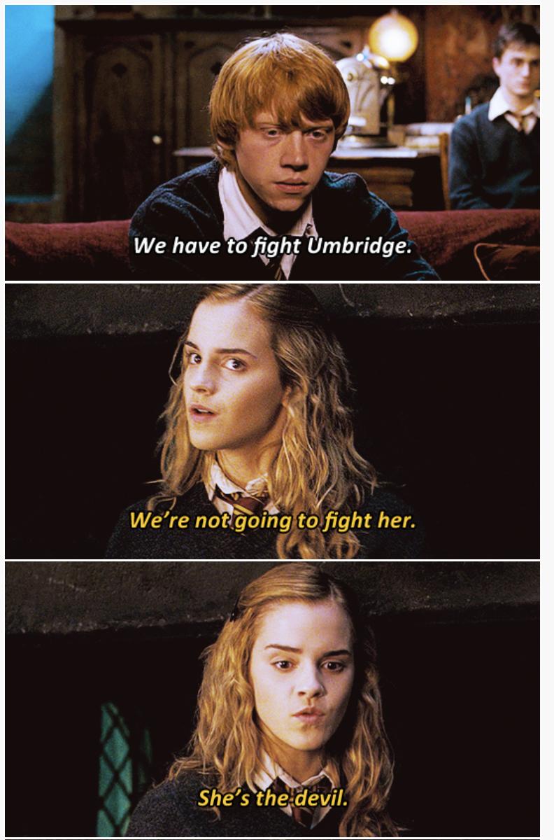 3-panel crossover meme of Harry Potter and Brooklyn Nine Nine about fighting Umbridge