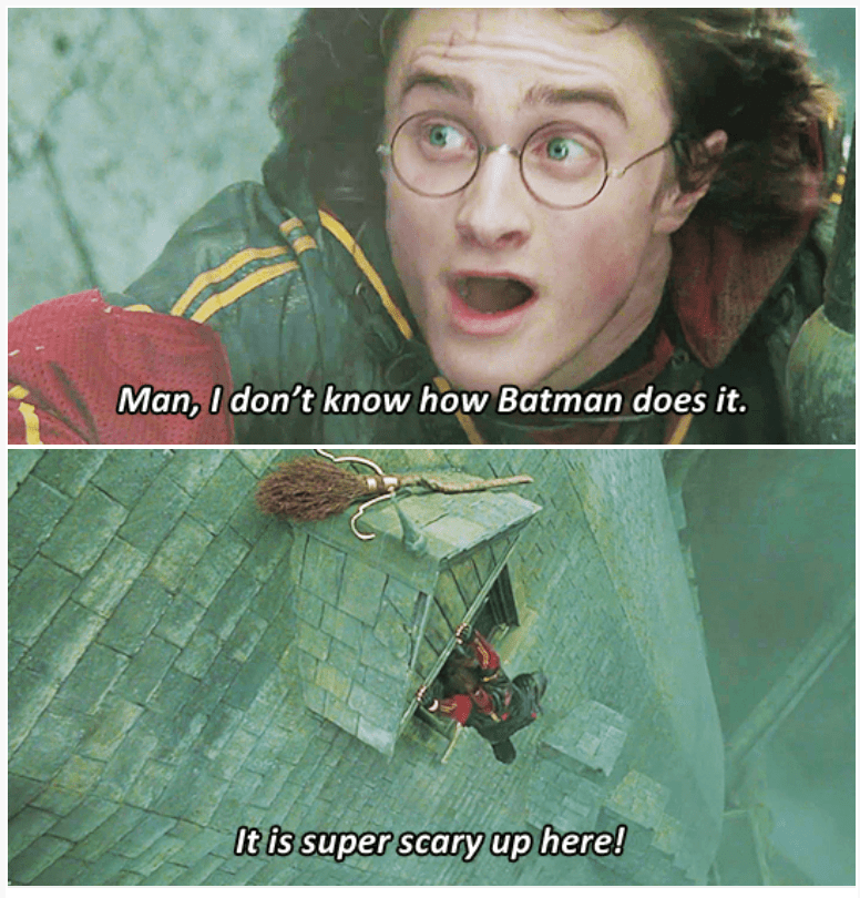3-panel crossover meme of Harry Potter and Brooklyn Nine Nine about batman hanging on to things