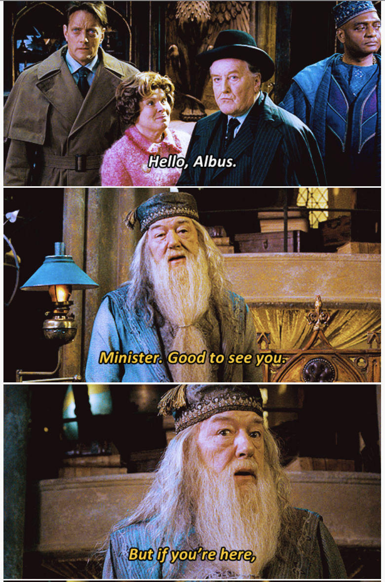 3-panel crossover meme of Harry Potter and Brooklyn Nine Nine of albus arriving