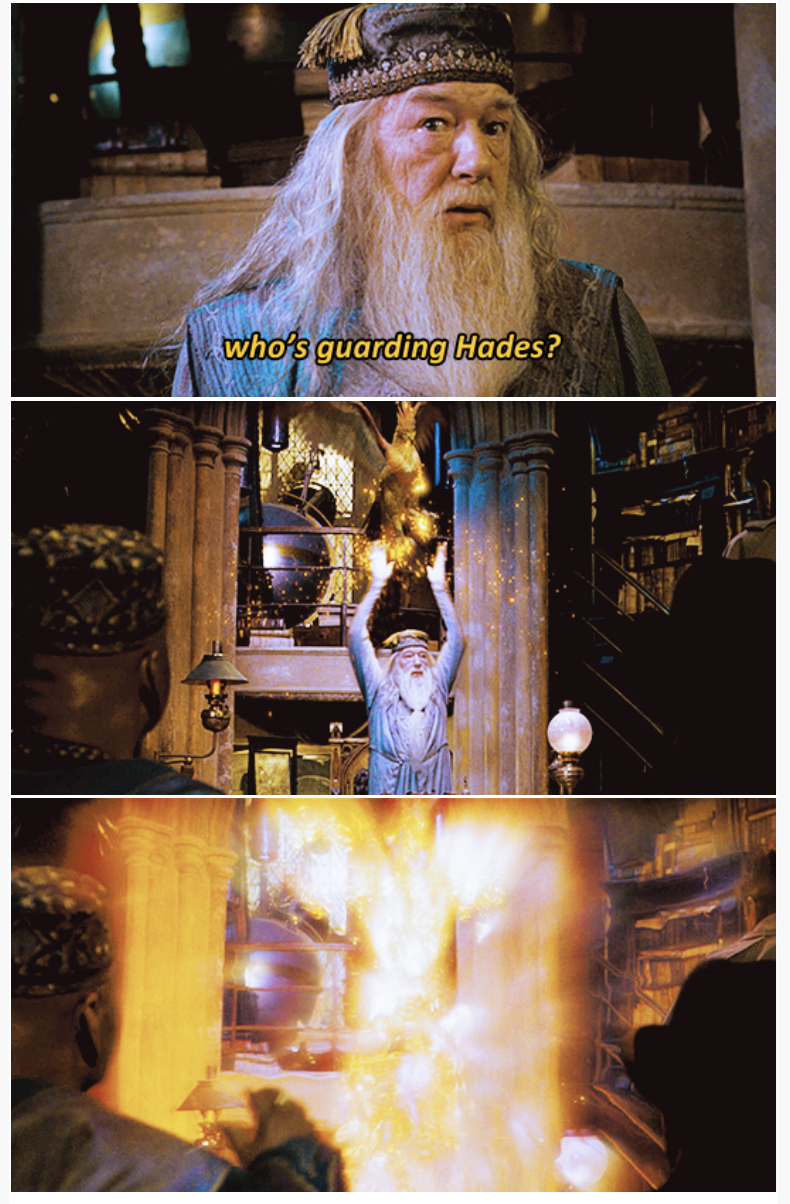 3-panel crossover meme of Harry Potter and Brooklyn Nine Nine about guarding Hades