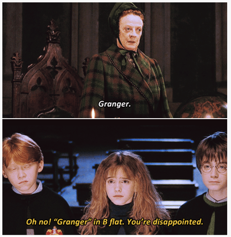 """3-panel crossover meme of Harry Potter and Brooklyn Nine Nine of """"Granger"""" in a b flat"""