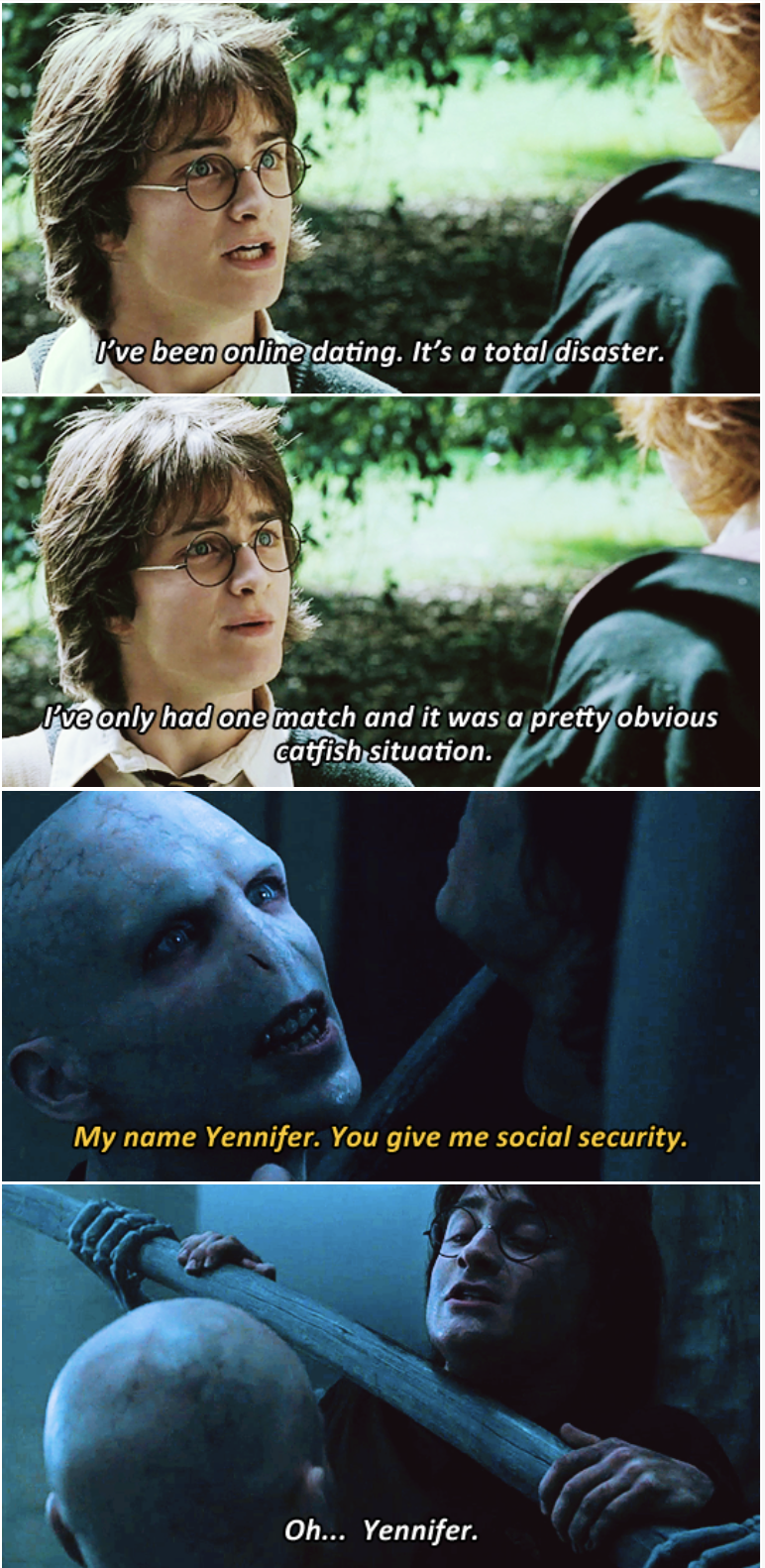 3-panel crossover meme of Harry Potter and Brooklyn Nine Nine of Harry Potter getting catfished