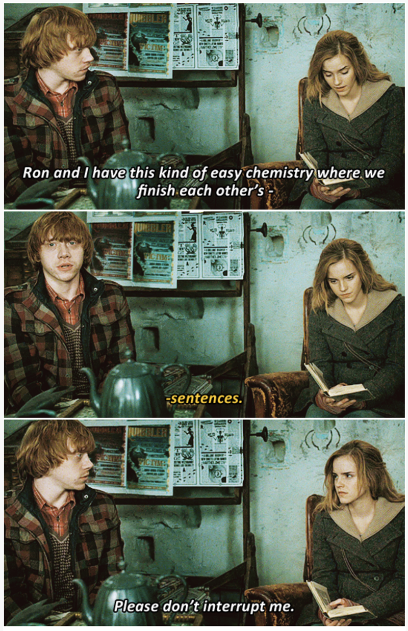 3-panel crossover meme of Harry Potter and Brooklyn Nine Nine of Ron interrupting