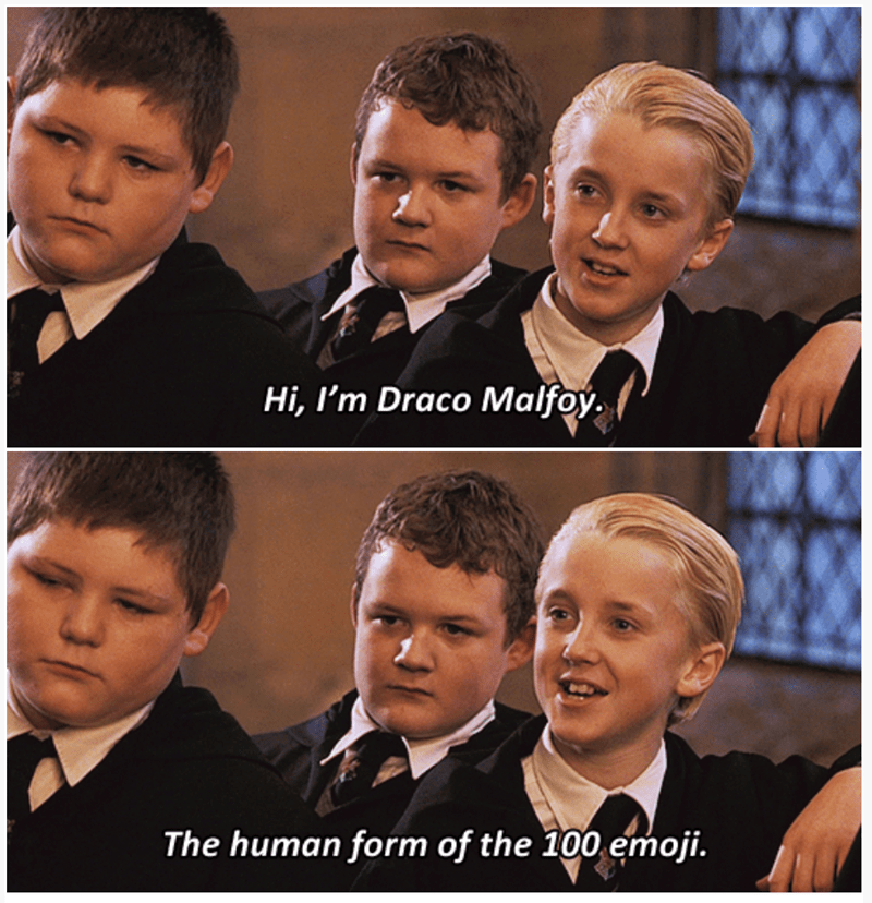3-panel crossover meme of Harry Potter and Brooklyn Nine Nine of Draco Malfoy