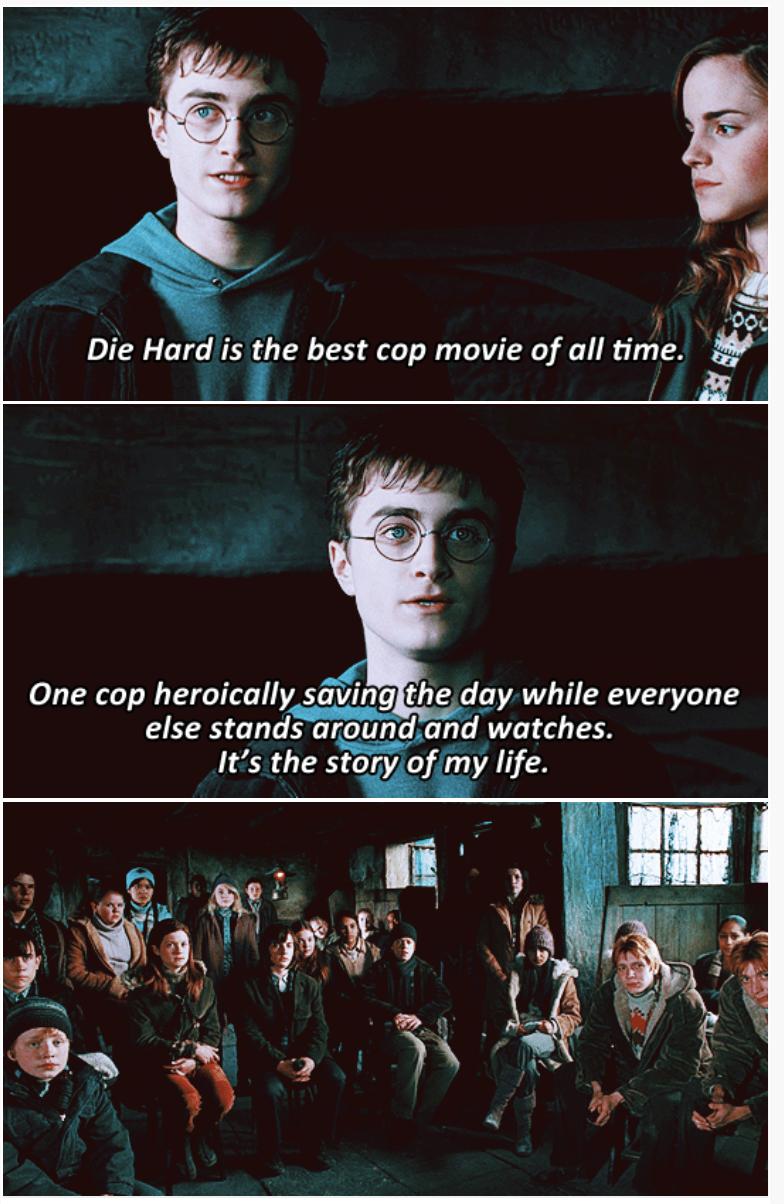 3-panel crossover meme of Harry Potter and Brooklyn Nine Nine of Die Hard being the best cop movie