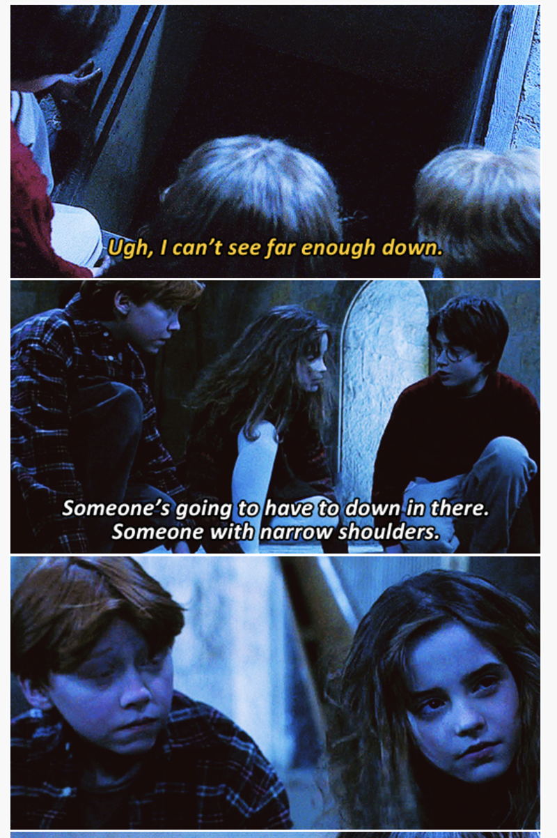 3-panel crossover meme of Harry Potter and Brooklyn Nine Nine of someone with narrow shoulders helping