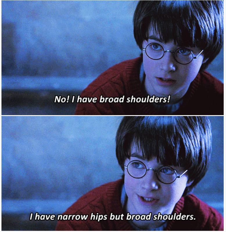 3-panel crossover meme of Harry Potter and Brooklyn Nine Nine of Harry Potter having broad shoulders