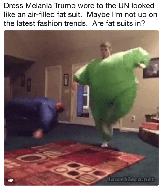 Parrot - Dress Melania Trump wore to the UN looked like an air-filled fat suit. Maybe I'm not up on the latest fashion trends. Are fat suits in? lawebloca.net GIF