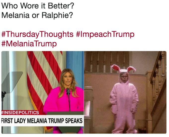 Text - Who Wore it Better? Melania or Ralphie? #ThursdayThoughts #ImpeachTrump #MelaniaTrump #INSIDEPOLITICS FIRST LADY MELANIA TRUMP SPEAKS