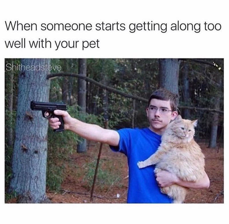 Funny meme about when someone gets too close to your pet.