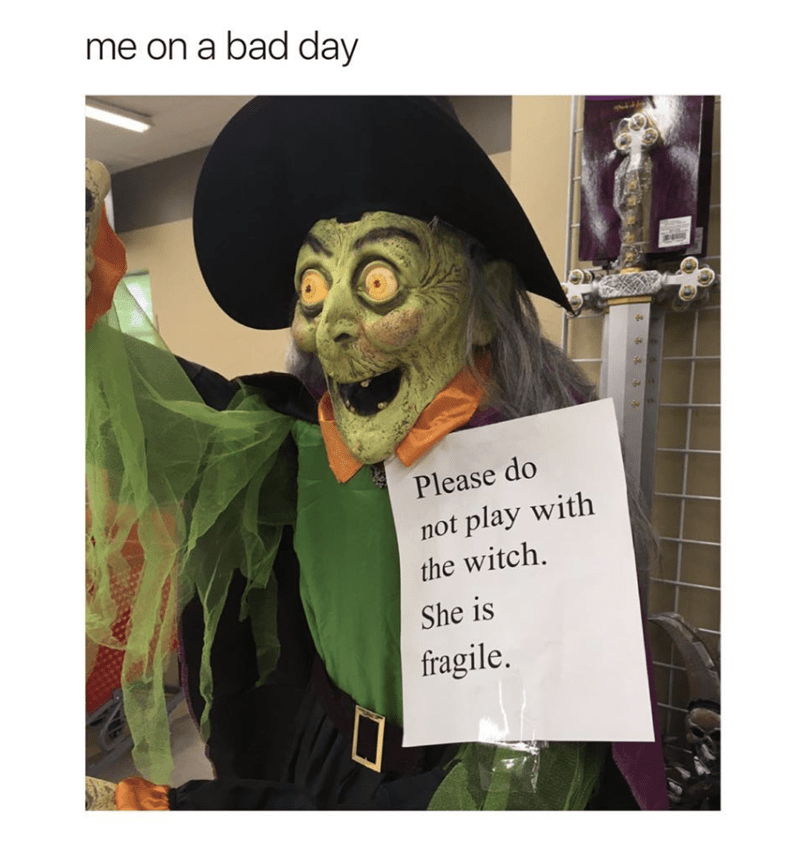 Halloween meme about fragile witch toy.