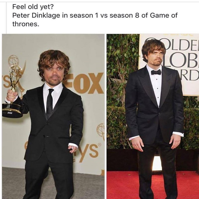 Funny meme about peter dinklage growing.