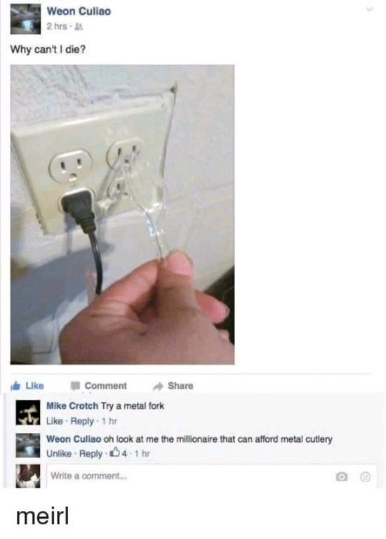 Funny meme about sticking fork into outlet.
