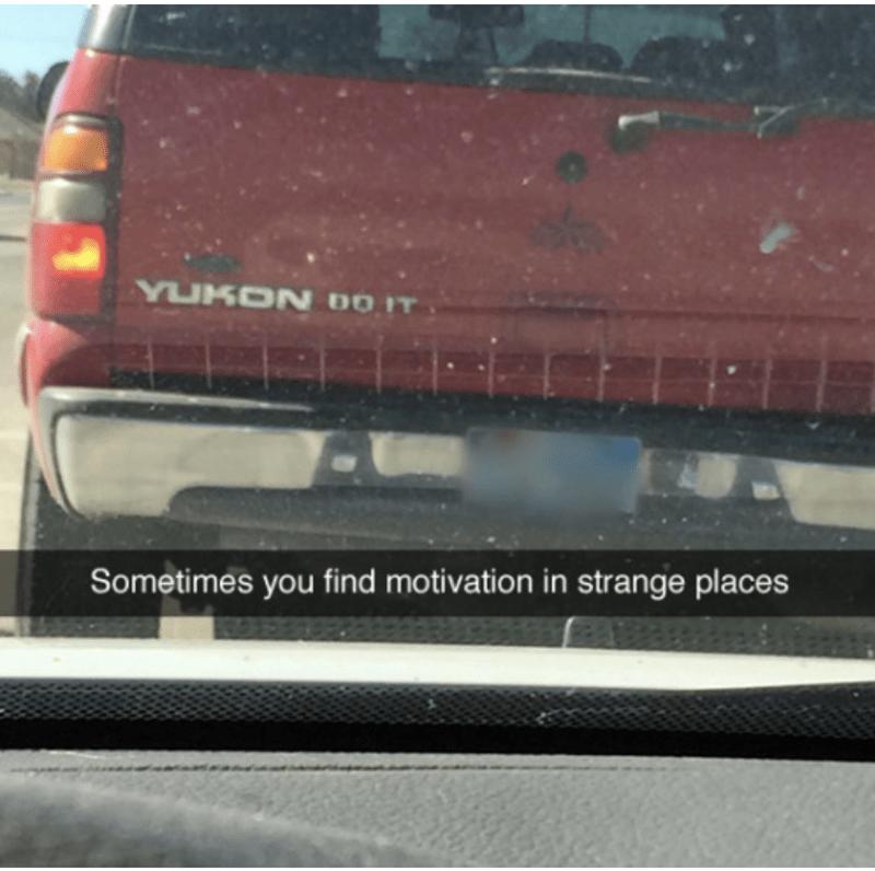 Snapchat meme of Yukon Do It on the back of a yukon pickup truck