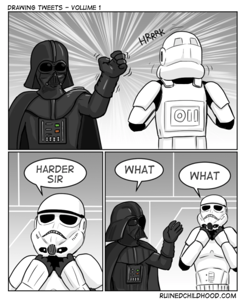 Funny Star Wars Webcomic of storm trooper that wants vader to choke him harder