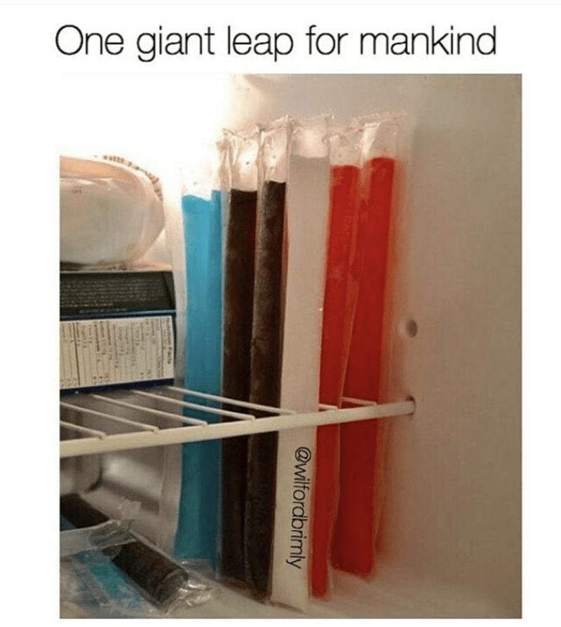 Gamechanger meme of putting push pups standing up in the freezer