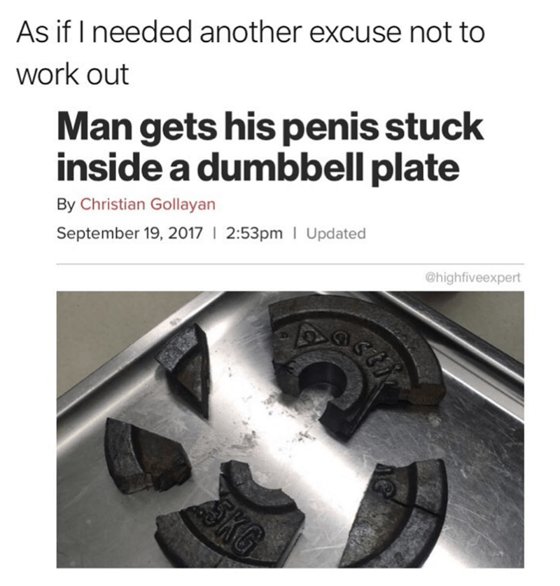 Workout meme of story of man who got stuck in dumbbell plate
