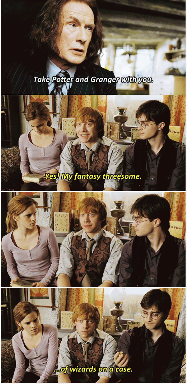 Collage - Take Potter and Granger with you. &Fleur Yes! My fantasy threesome. & Fleur Fleur oof wizards on a case.