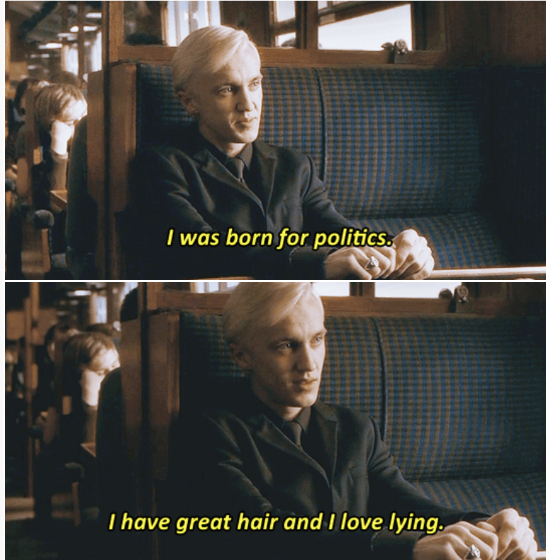Movie - I was born for politics T have great hair and I love lying.