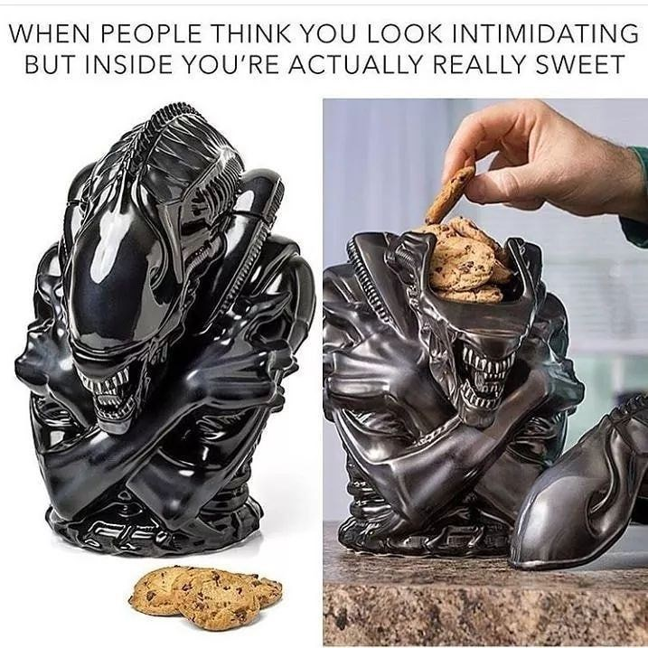 Funny meme about alien cookie jar, when people think you're mean but you're actually very sweet.