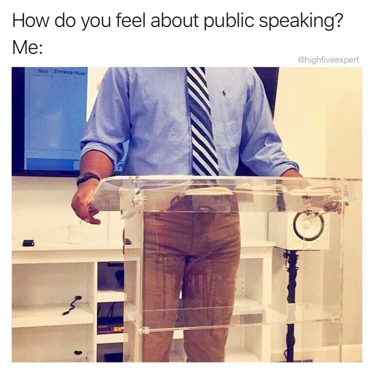 Funny meme about public speaking.