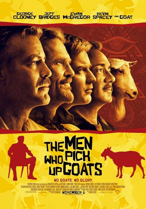 "goat meme with movie poster parodying ""the men who stare at goats"""
