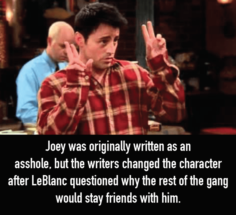 Photo caption - Joey was originally written as an asshole, but the writers changed the character after LeBlanc questioned why the rest of the gang would stay friends with him