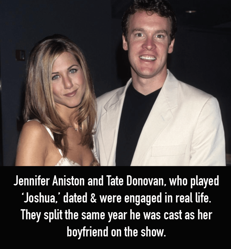 Photo caption - Jennifer Aniston and Tate Donovan, who played Joshua,' dated & were engaged in real life. They split the same year he was cast as her boyfriend on the show.