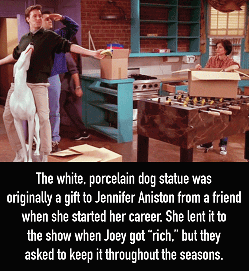 "Photo caption - The white, porcelain dog statue was originally a gift to Jennifer Aniston from a friend when she started her career. She lent it to the show when Joey got ""rich,"" but they asked to keep it throughout the seasons."