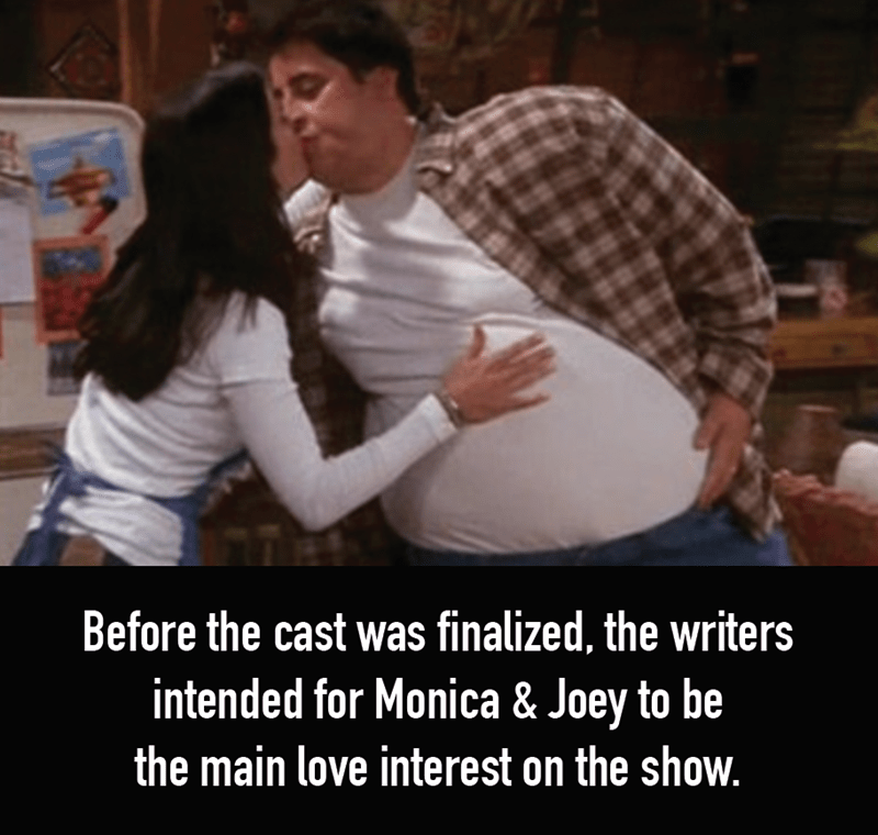 Photo caption - Before the cast was finalized, the writers intended for Monica & Joey to be the main love interest on the show.